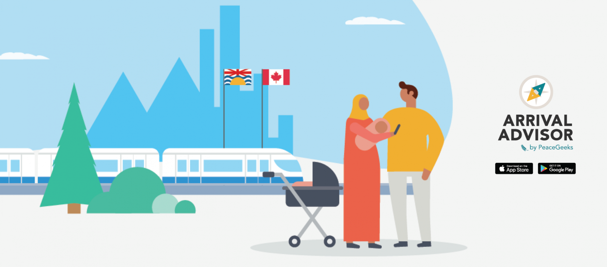 Illustration of immigrant couple using the Arrival Advisor app